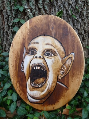 Bat Boy Weekly World News Woodburning